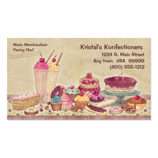 Cakes, Pies, Cookies, Ice Cream Business Card (front side)