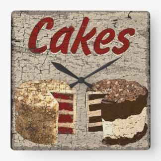 Cakes Square Wall Clock