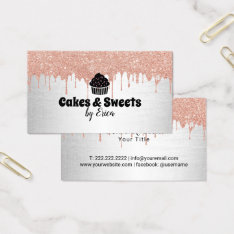 Cakes & Sweets Cupcake Home Bakery Modern Drips Business Card at Zazzle