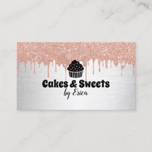 Bakery business cards 5200 bakery business card templates cakes sweets cupcake home bakery modern drips business card reheart Images