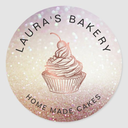 Cakes  Sweets Cupcake Home Bakery Rustic Vintage Classic Round Sticker