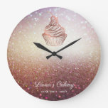 Cakes & Sweets Cupcake Home Bakery Rustic Vintage Large Clock