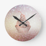 Cakes & Sweets Cupcake Home Bakery Rustic Vintage Round Clock