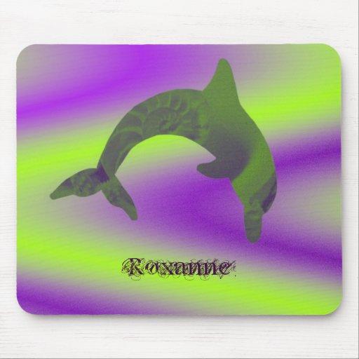 Cal abstracta, verde, y púrpura de Shell del Delfí Alfombrilla De Ratón