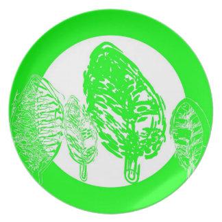 Cal/árboles verdes (hojas) - placa plato para fiesta