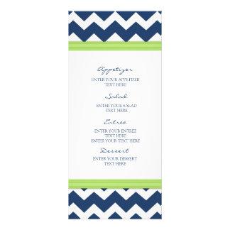 Cal azul Chevron del menú del boda Lona Personalizada