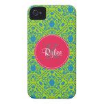 Cal azulverde, iPhone con monograma rosado 4/4s Case-Mate iPhone 4 Carcasa