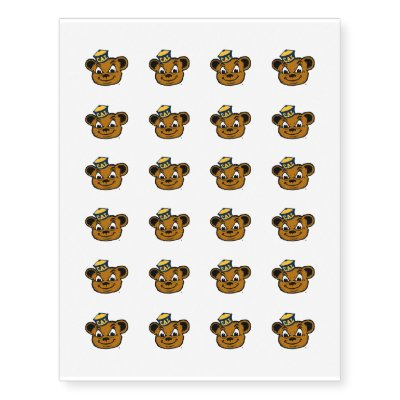 Happy teddybear with heart cartoon love temporary tattoos | Zazzle.com