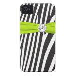 Cal con monograma, negro, cebra blanca rayada iPhone 4 Case-Mate protector