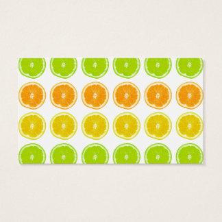 Cal de la fruta cítrica, naranja, y rebanadas del tarjeta de negocios