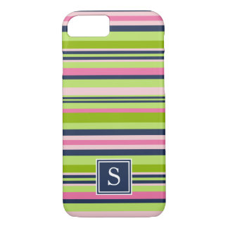 Cal de muy buen gusto, rosa y monograma de la raya funda iPhone 7