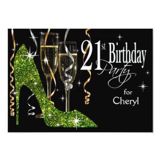 Cal del cumpleaños de Champán del estilete del Invitación 12,7 X 17,8 Cm