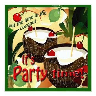 """Cal divertida de las bebidas del coco de Luau en Invitación 5.25"""" X 5.25"""""""