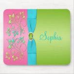 Cal en colores pastel, rosa, y Mousepad floral azu Tapetes De Ratones