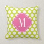 Cal femenina y puntos grandes rosados cones monogr almohada