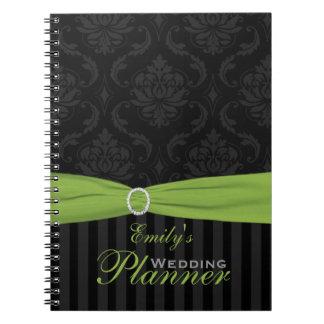 Cal, gris, cuaderno rayado del damasco negro