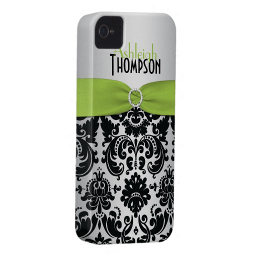Cal personalizada, negro, damasco de plata Case-Mate iPhone 4 protector