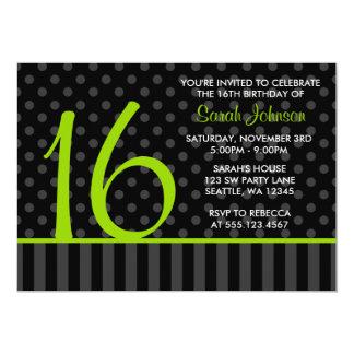 """Cal y cumpleaños negro del dulce 16 de las rayas invitación 5"""" x 7"""""""