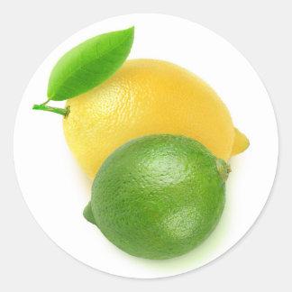 Cal y limón pegatina redonda