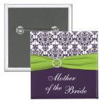 Cal y madre púrpura del damasco del Pin de la novi
