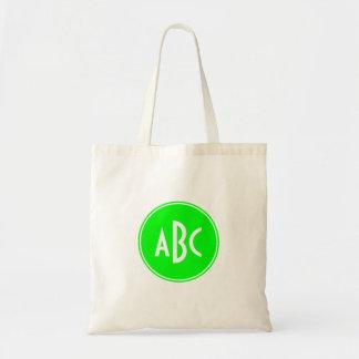 Cal y monograma blanco del círculo bolsa tela barata