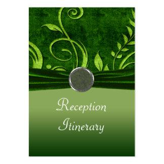 Cal y remolino verde del boda del terciopelo tarjeta de visita