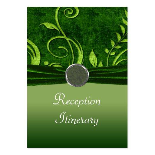 Cal y remolino verde del boda del terciopelo tarjetas de visita grandes