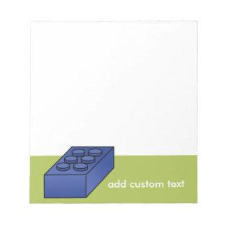 Cal y texto azul del personalizado del juguete del bloc de papel