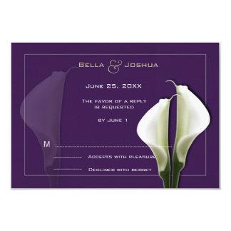 """Cala blanca Lillies RSVP en púrpura Invitación 3.5"""" X 5"""""""
