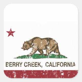 Cala de la baya de la bandera de California Pegatina Cuadrada