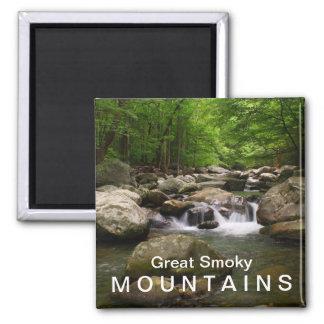 Cala de la montaña/río - Great Smoky Mountains Imán Cuadrado