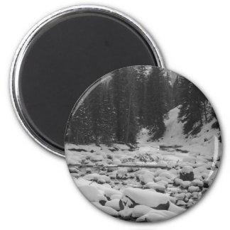 Cala de la mota de la soda Nevado en Yellowstone Imán Redondo 5 Cm