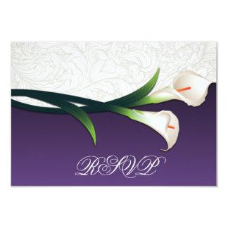Cala de plata púrpura, blanca que casa las invitación 8,9 x 12,7 cm
