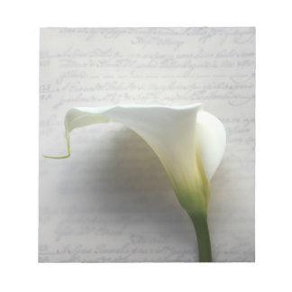 cala en la libreta vieja de la escritura de la esc bloc de papel