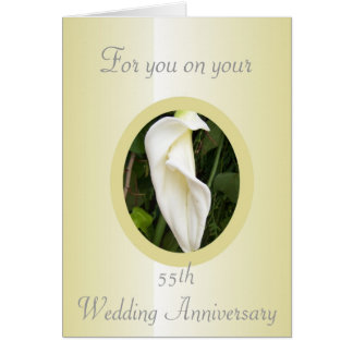 Cala Lily 55th Wedding Anniversary Greeting Card