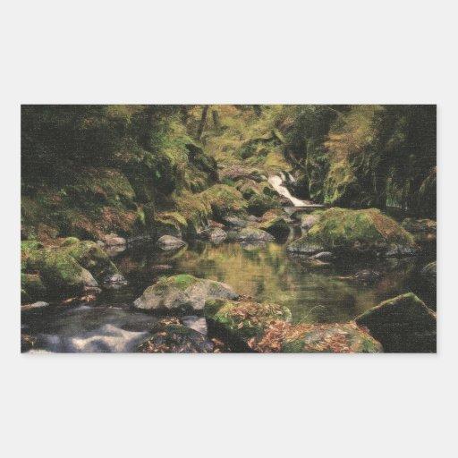 cala ocultada del bosque místico 2 pegatina rectangular