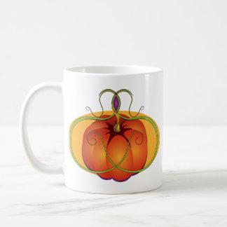 Calabaza anaranjada con acentos curvilíneos taza