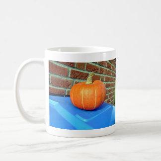 Calabaza anaranjada contra la pared de ladrillo tazas