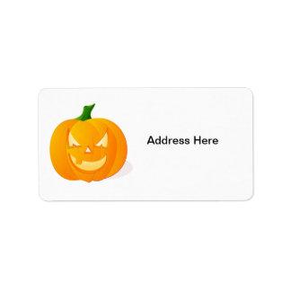 Calabaza anaranjada de Halloween Etiquetas De Dirección