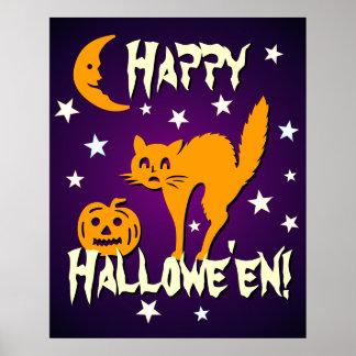 Calabaza anaranjada de la luna del gato del feliz póster