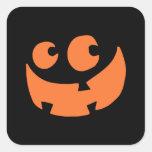 Calabaza anaranjada del feliz Halloween Calcomanía Cuadradas Personalizada