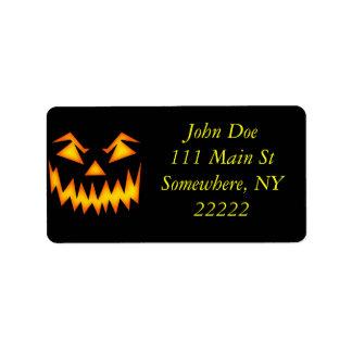Calabaza asustadiza de Halloween Etiqueta De Dirección