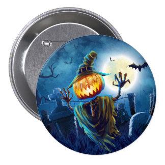Calabaza asustadiza de la escena de Halloween (5) Pin Redondo De 3 Pulgadas