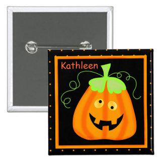 Calabaza banal de Halloween en insignia conocida Pin Cuadrada 5 Cm