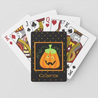 Calabaza banal de Halloween en negro Baraja De Cartas