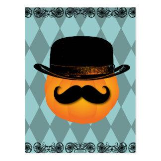 Calabaza con el bigote y el gorra tarjetas postales