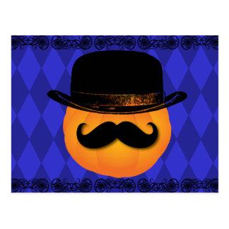 Calabaza con el bigote y el gorra postales