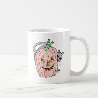 calabaza con el gato negro taza