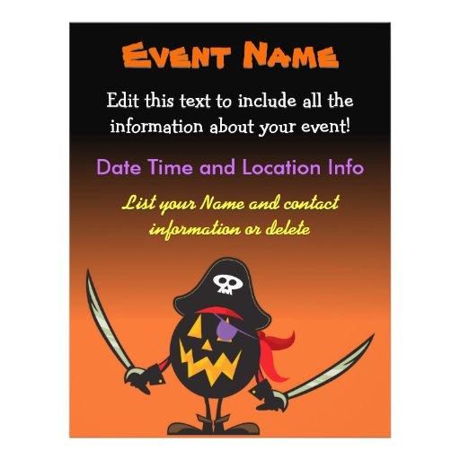 Calabaza de encargo del pirata de Halloween del ac Tarjetas Publicitarias