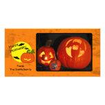 Calabaza de Halloween con el fondo apenado Tarjetas Con Fotos Personalizadas